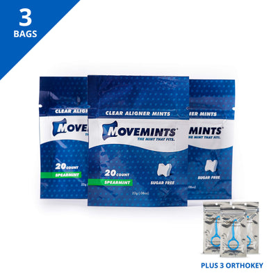 Smile Journey Starter | 3 Bags of Movemints and 3 OrthoKey - Movemints, The Mint That Fits