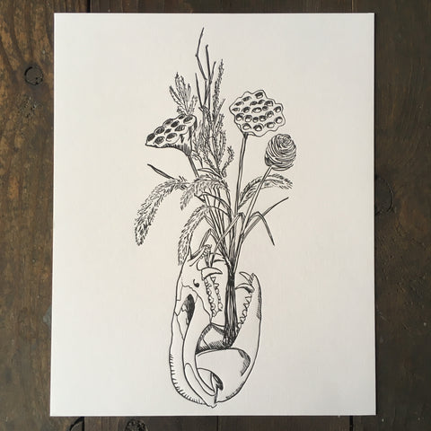 Bear Skull With Dried Flowers - Print