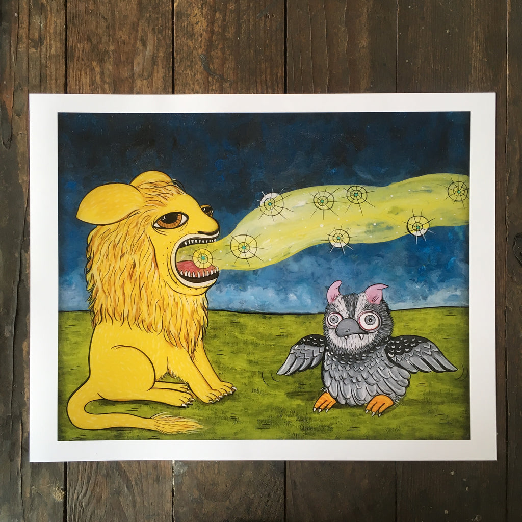 Counting Stars Julie Armbruster lion owl art print