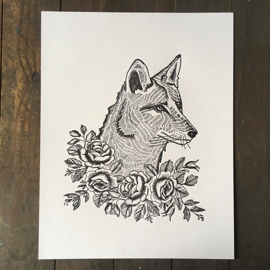 coyote with roses print woodcut illustration