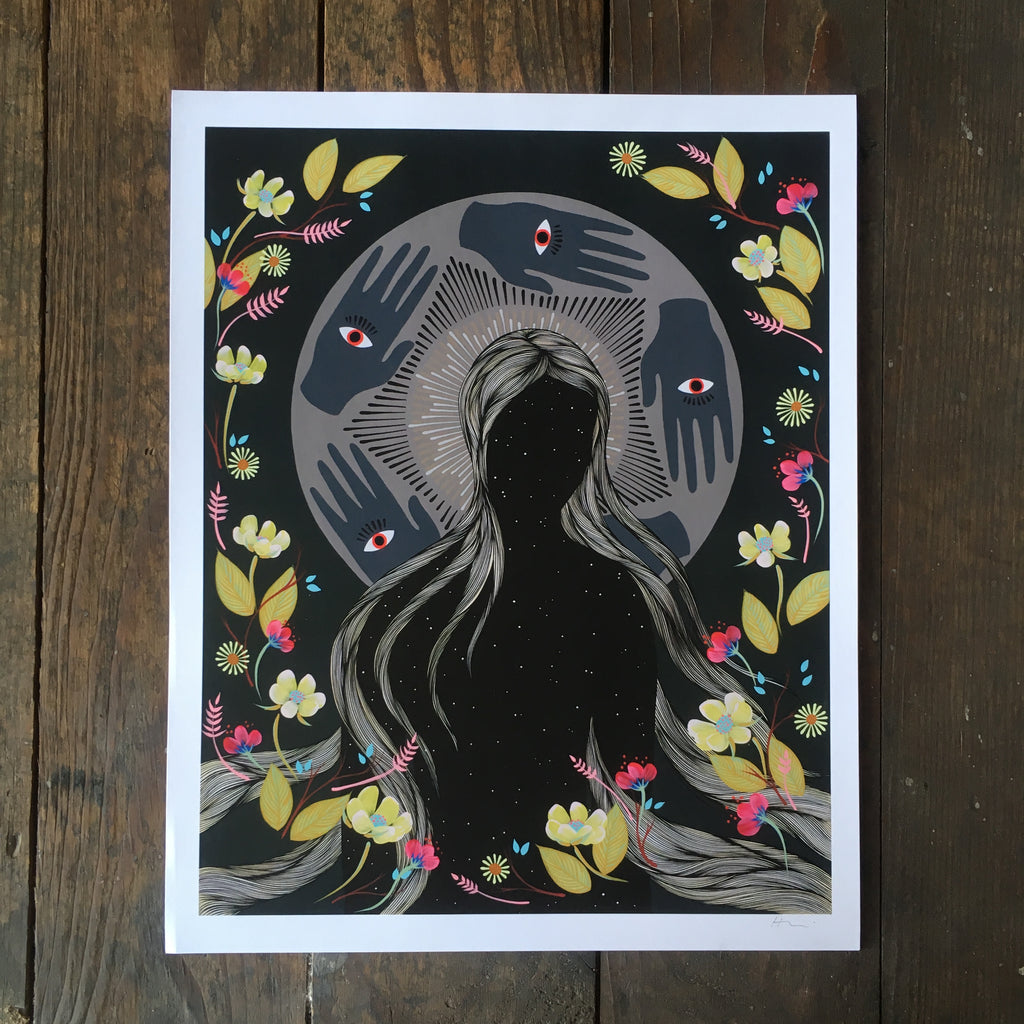 Hannah Dansie art print mystical woman nature botanical
