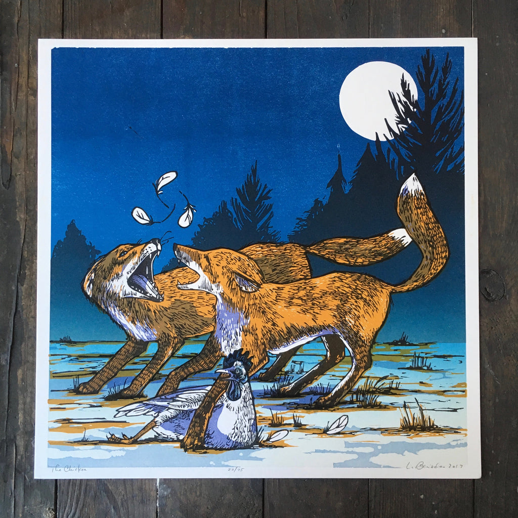 Foxes In The Chicken Yard - Print