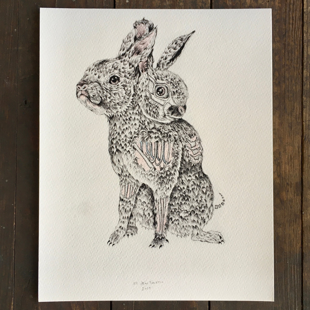 Two Headed Zombie Rabbit - Print