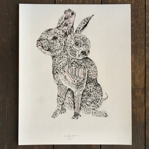 Two Headed Zombie Rabbit - Archival Print