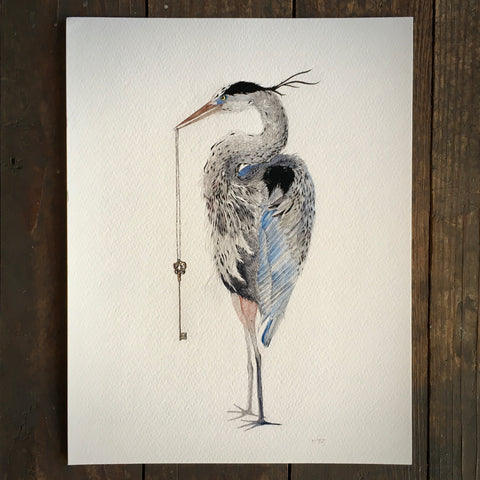 Great Blue Heron And Skeleton Key - Archival Print