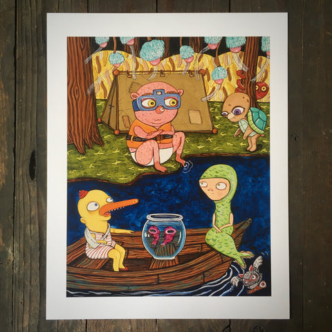 Camping At The Lake - Print