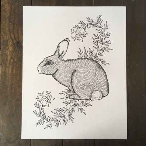 Rabbit With Vines - Print