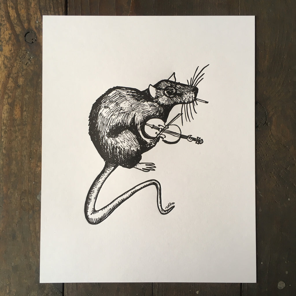 Rat Playing A Fiddle - Print