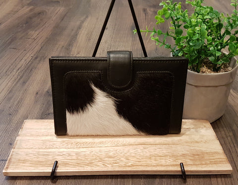 Karla - Leather and Cowhide Ladies Fold-over Wallet