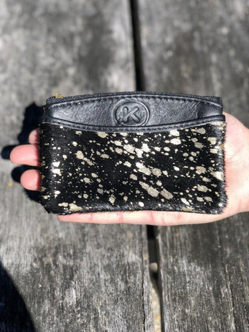 Coin & Card Purse - Black & Gold