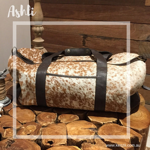 Ashli Overnight large bag: Chocolate Leather with Tan & White Cowhide
