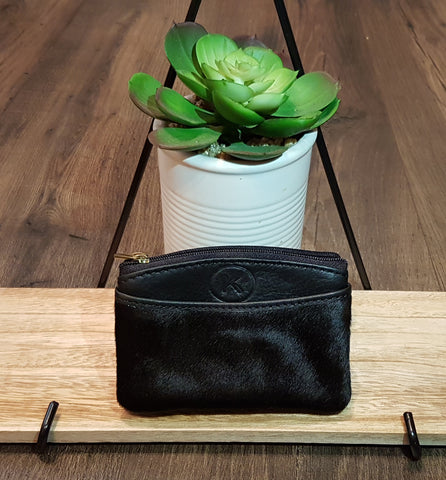 Coin & Card Purse: Small Pouch in All Black Leather & Hide