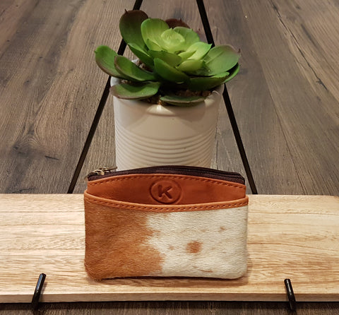 Coin & Card Purse: Small Pouch in Tan Leather & Tan & White Hide