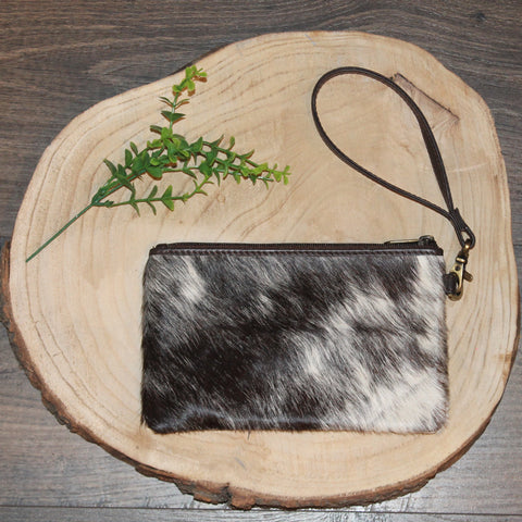 Hannah - Chocolate Leather with Black & White Hide