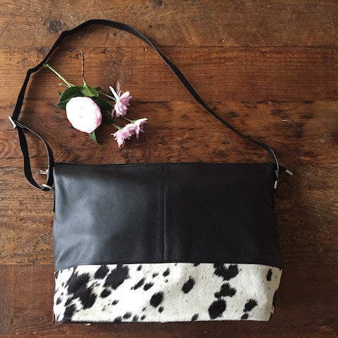 Allina: Big Black Leather & Cowhide Tote bag