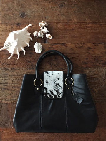 Kara: Black Leather Handbag with Black and White Hide