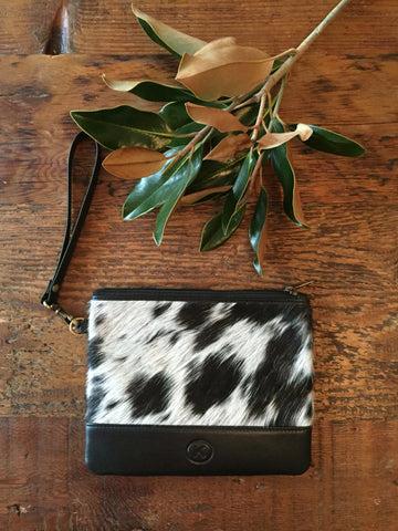 Brooklyn Clutch: Black & White Leather & Cowhide Wristlet Clutch