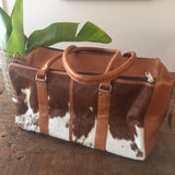 Charlotte: Medium Overnight bag Tan Leather with Tan & White Hide