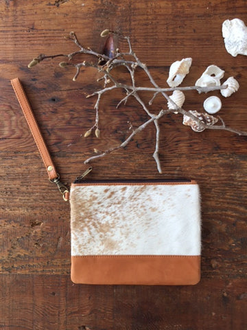 Brooklyn Clutch: Tan & White Leather & Cowhide Wristlet Clutch