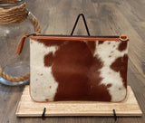 Linda - Leather and Cowhide Sling with Zipper Comparments and Open Pocket