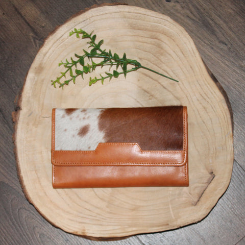 Lyn - Tan Leather with Tan & White Hide