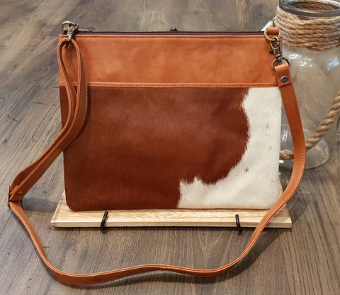 Sia Sling: Large Leather and Cowhide Shoulder Bag or Clutch