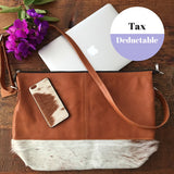 Allina: Beautiful Tan Leather & Cowhide Tote bag