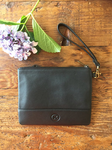 Brooklyn Clutch: All Black Leather Wristlet Clutch