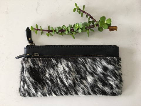 Soph Wallet: Leather and Cowhide Pouch wallet with zip up comparments