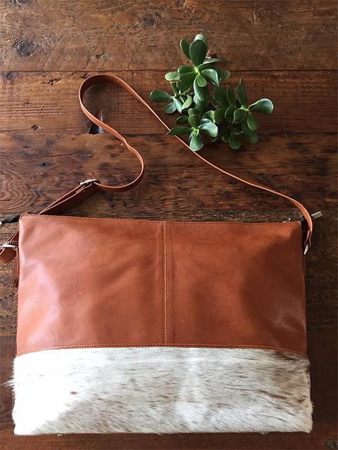 Kenzii Leather and Cowhide Tote Bag