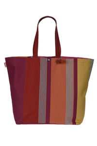 Adjustable bag in colourful striped cotton woven woven in France by Artiga-Bidos Cassis