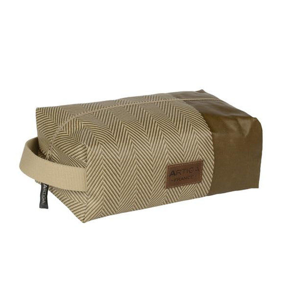 Alfred toiletry bag in oil cloth with a convenient handle made in France by Artiga, perfect for a shaving kit-Chevron mousse