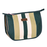 Alienor toiletry pouch in heavy duty striped canvas with wipeable lining, made in france by Artiga-Garlin Gris