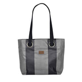 Bea large handbag in oil cloth with grommets-Chevron Bleu Canard