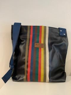 Brigitte  crossover bag in oil cloth, made in France, Artiga-Mauleon Marine