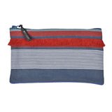Pouch in espadrille fabric with fringe by Artiga, France-GArlin Marine