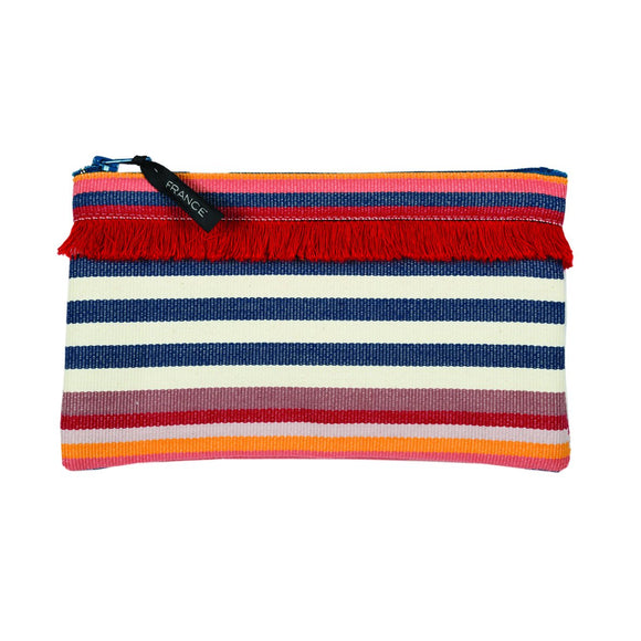 Pouch in espadrille fabric with fringe by Artiga, France-Larrau Rose