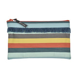 Pouch in espadrille fabric with fringe by Artiga, France-Mauleon Celadon