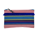 Pouch in espadrille fabric with fringe by Artiga, France-Tyrosse Bleu