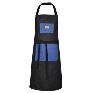 Large apron in recycled jean designed by Artiga-Black w/ Royal Blue