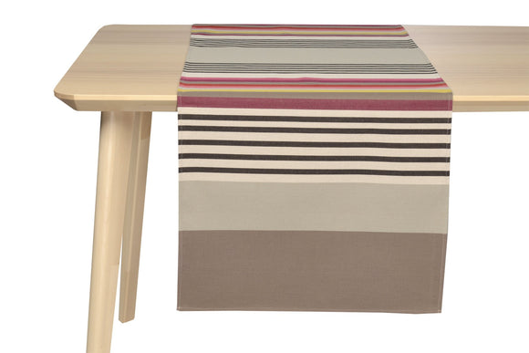 coated table runner, woven in France, sewn in canada, designed by Artiga-Larrau