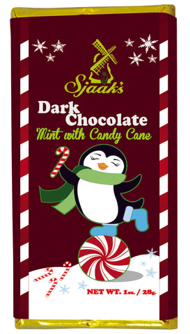 Organic Dark Chocolate Mint with Candy Cane Holiday Bars