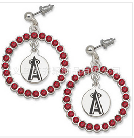 Anaheim Angels Round Red Earings