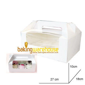 White Cup Cake Box with handle - Large