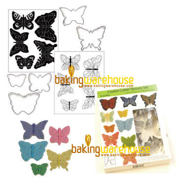butteryfly cookie cutter with texture sheet