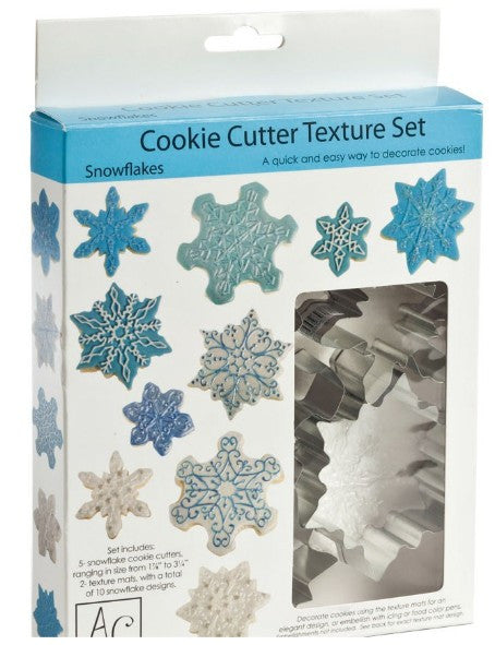 Snowflakes cookie cutter with texture sheet
