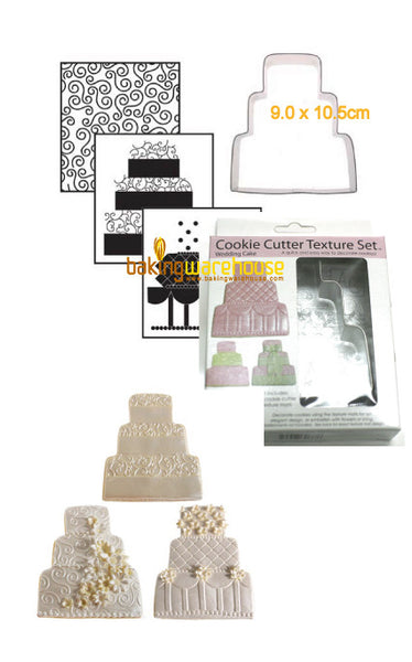 Wedding cake cookie cutter with texture sheet