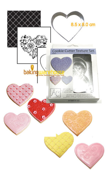 Heart cookie cutter with texture sheet