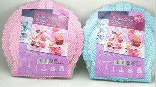 3 tier Cup cake board stand -Blue polka dot
