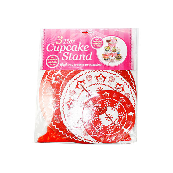 3 tier Cup cake board stand -X'mas Red